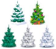 Satz Weihnachtsbäume Lizenzfreies Stockbild