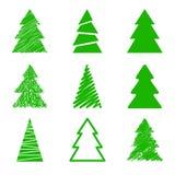 Satz Weihnachtsbäume Stockbild