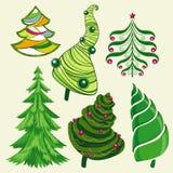 Satz Weihnachtsbäume Stockfoto