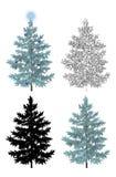 Satz Weihnachtsbäume lizenzfreie abbildung
