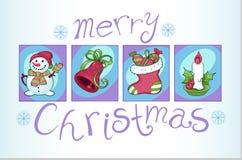 Satz Weihnachtsbilder Lizenzfreies Stockfoto
