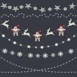 Satz Weihnachtsdekorationen, Girlande, Schneeflocken, Feiertag appli Lizenzfreie Stockfotos