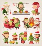 Satz Weihnachtselfen Stockfoto