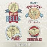 Satz Weihnachtsembleme und -Designe Stockfotos