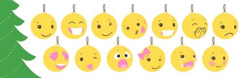Satz Weihnachtsgelbbälle mit nettem Gesicht Emoticons auf Blasenspielwaren vektor abbildung