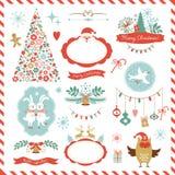 Satz Weihnachtsgraphikelemente Stockbilder