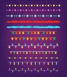 Satz Weihnachtsgrenzen, Schnüre, Girlanden, Bürsten Party Dekoration Stockfoto