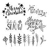 Satz Weihnachtshand gezeichnete grafische Elemente Stockfoto