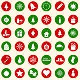 Satz Weihnachtsikonen auf Farbhintergrund, Illustration vektor abbildung