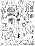 Satz Weihnachtsikonen in der Gekritzelart Lizenzfreie Stockfotos