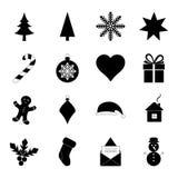 Satz Weihnachtsikonen, Illustration Lizenzfreie Stockfotos