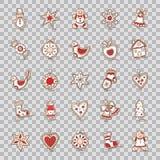 Satz Weihnachtsikonen Stern, Glocke, Kranz, Apfel, Bogen, Socke, Weihnachtsbaum, Haus, Schneemann, Lebkuchen, Handschuh, Herz, St stock abbildung