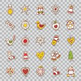 Satz Weihnachtsikonen Stern, Glocke, Kranz, Apfel, Bogen, Socke, Weihnachtsbaum, Haus, Schneemann, Lebkuchen, Handschuh, Herz, St lizenzfreie abbildung