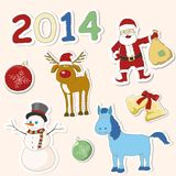 Satz Weihnachtsikonen. Vektorillustration. Stockfoto