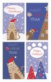 Satz Weihnachtskarten mit netten Katzen Stockbilder
