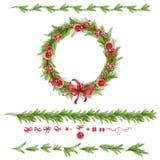 Satz Weihnachtskiefernzweige und Feiertagsdekorationen Lizenzfreie Stockbilder