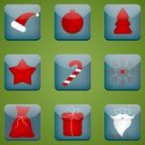 Satz Weihnachtsknöpfe Stockfoto