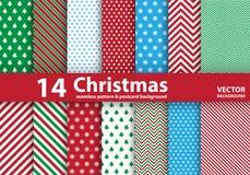 Satz Weihnachtsmuster und nahtloser Hintergrund Lizenzfreies Stockfoto