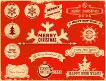 Satz Weihnachtsweinleseaufkleber Stockbilder