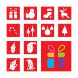 Satz Weihnachtszeichen und -symbole Stockbild