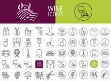 Satz Wein- und Lebensmittelikonen Vektor Abbildung