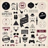 Satz Weinlese angeredete Design Hippie-Ikonen. Vektor Stockbilder