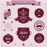 Satz Weinlese angeredete Entwurf Hippie-Ikonen. Vektorhintergrund stock abbildung