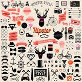 Satz Weinlese angeredete Entwurf Hippie-Ikonen Vektorzeichen und Symbolschablonen Stockfoto