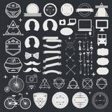 Satz Weinlese angeredete Entwurf Hippie-Ikonen Vektorzeichen und Symbolschablonen für Design Telefon, Geräte, Pfeile lizenzfreie abbildung