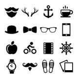 Satz Weinlese-Hippie-Ikonen und Logos Vektor Stockbild
