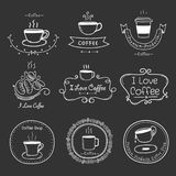 Satz Weinlese-Retro- Kaffee-Aufkleber Retro- Elemente Stockfotografie