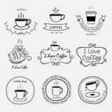 Satz Weinlese-Retro- Kaffee-Aufkleber Retro- Elemente für kalligraphische Designe Lizenzfreie Stockfotos