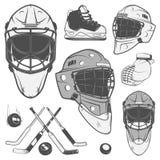 Satz Weinleseeishockey-Torhütersturzhelmgestaltungselemente für Embleme tragen zur Schau Stockfoto