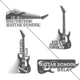 Satz Weinlesegitarrenlogo-, -ausweis-, -emblem- oder -firmenzeichenelemente für Musik kaufen, Gitarrenshop, Gitarrenschule Lizenzfreies Stockfoto
