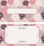 Satz Weinlesegrußkarten, Einladung mit Blumenverzierungen Stockfotos