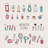 Satz Weinlesekosmetikelemente und -schönheit stock abbildung
