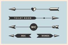 Satz Weinlesepfeile und -fahnen mit Aufschrift WC, Toilettenraum Stockbilder