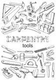 Satz Werkzeuge für Zimmereiarbeit Stockbilder