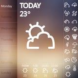 Satz Wetter Widget UI Stockfoto
