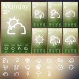 Satz Wetter Widget UI Lizenzfreies Stockfoto