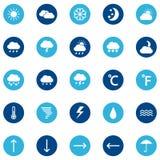 Satz Wetterikonen auf Farbhintergrund, Illustration Stockbild