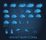 Satz Wetterikonen für Netz und bewegliches, Vektor Stockfotos
