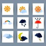 Satz Wetterikonen Sonne, Mond, Wolken, Blitz, Regen, umbrell Stockfotos