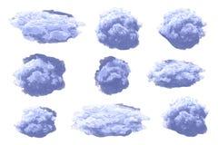 Satz Wolken, auf Hintergrund Kumuluswolken für Dekordesigndekoration Stockfotos
