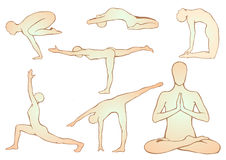 Satz Yoga asanas Lizenzfreie Stockfotografie