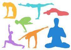 Satz Yoga asanas Lizenzfreies Stockbild