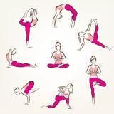 Satz Yoga- und pilateshaltungssymbole Stockfotos