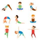 Satz Yogakinder Stockbild