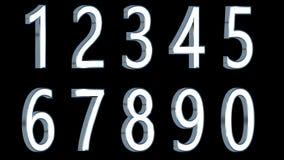Satz Zahlen 3d Metallische helle Farbe mit schwarzem Hintergrund Lokalisiert, bedienungsfreundlich Stockfotografie