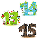 Satz Zahlen mit der Anzahl der Tiere von 13 bis 15 Stockfotos